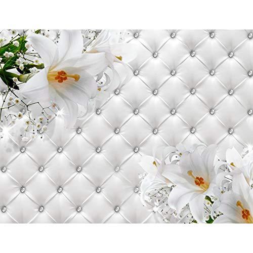 Fototapeten 396 x 280 cm Blumen 3D Lilien | Vlies Wanddekoration Wohnzimmer Schlafzimmer | Deutsche Manufaktur | Weiss 9185012a