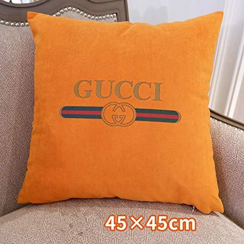 LYTFQ Funda de cojín estampada para el hogar, sofá, decoración de sofá de terciopelo nórdico, color sólido, cojín cuadrado, Naranja, 45 * 45 with core