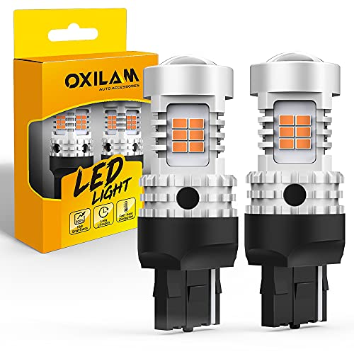 OXILAM 7440 LED Bulbs Amber Yellow 2800LM for Turn Signal Lights with Build-in Load Resistor CANBUS Error Free T20 7440NA 7441 W21W WY21W Blinker Bulb Replacement (2PCS)