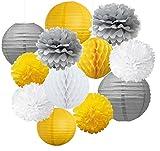 12 pompons, fleurs et lanternes vintage en papier jaune, gris et blanc à suspendre pour mariage, anniversaire, fête de baptême de garçon, décoration de crèche