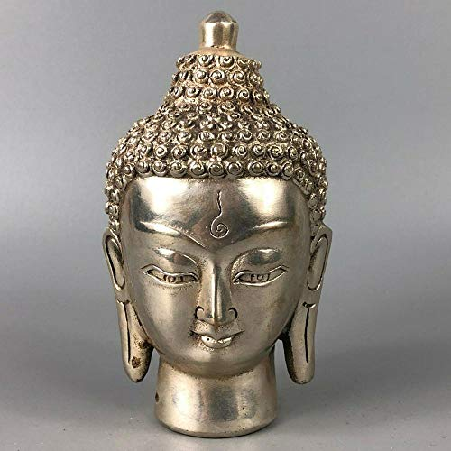 LOSAYM Statuen Dekoartikel & Figur Skulpturen Figuren Antike Sammler Old Tibet Silber Handarbeit Buddha Kopf Statue