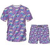 Camisa con Botones de Verano de Dinosaurio 3D + Traje de Pantalones Cortos para Hombre, Ropa de Calle, chándal de Gran tamaño para Mujer Tssh13685 M