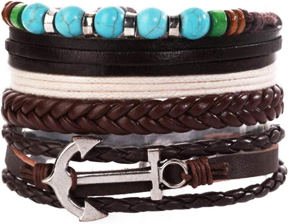 MiniJewelry 3Pcs Hamasa Evil Eye Anchor Braided Leather Bracelet