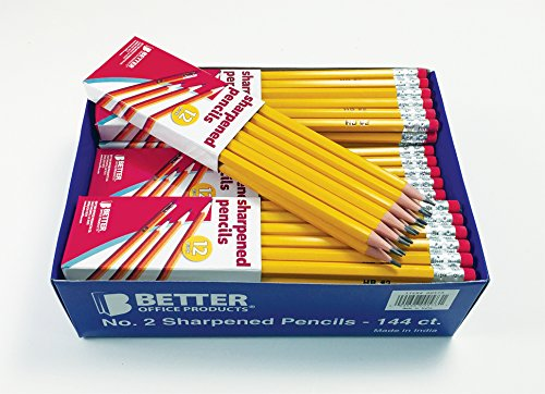 Better Office Products Pre-sharpened #2 Pencils, 144/box