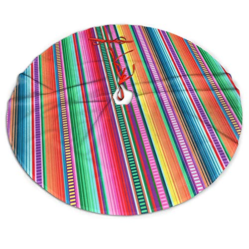 MINISOON Mexican Blanket Serape Stripe Christmas Tree Skirt Ornaments 48inch Large Xmas Tree Mat for Christmas Decorations, Party Holiday Winter New Year House Decoration Supplies