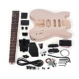 ammoon 未完成のDIYエレキギターキット バスウッドボディー ローズウッド指板 メイプルネック特別デザイン ヘッドストックなし