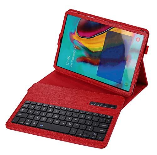 DANYCU Funda de la Tableta PU Compatible con Samsung Galaxy Tab S6 Lite P610 / P615 10.4 Pulgadas 2020 Tablet Tample Shell Tapa Protectora a Prueba de choques con Teclado Bluetooth y Soporte,Rojo