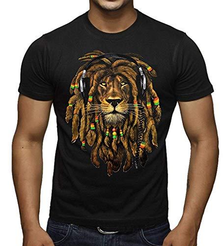 LIONMODE T-Shirt Men's Dreadlock Rasta Lion Headphones Camis