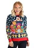 Adult Fraggle Rock Sublimated Ugly Christmas Sweater Medium Blue