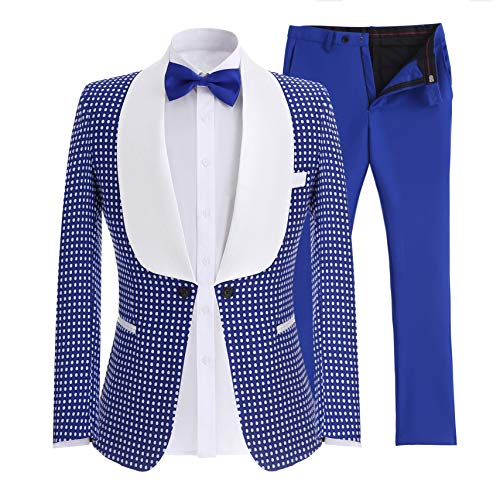 SOLOVEDRESS Men's Two-Piece Tuxedo Groomsmen Suits One Button Slim Fit Business Suits Blazer (Royal Blue,36)