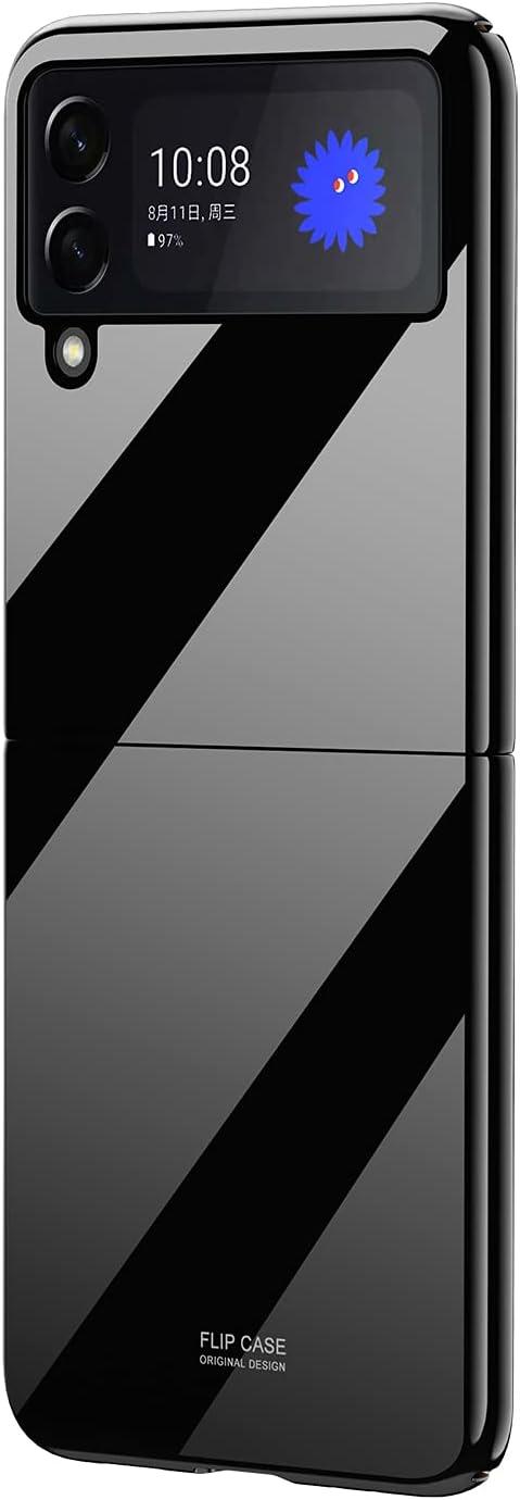 SHBDZGS for Samsung Galaxy Z Flip 3 Case Luxury Plastic Plating Crystal Shockproof Protection Finish Bumper Cover Case for Samsung Galaxy Z Flip 3 5G (Black)
