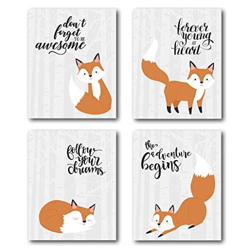 XUWELL Inspirational Quotes Fox Wall Art Prints, Woodland Animals Decor for Nursery Kids Bedroom Classroom, 8 x 10 Inch Set of 4 Prints, No Frame