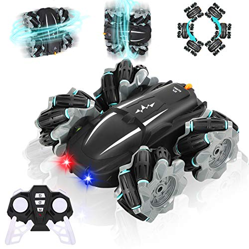 Biulotter RC Stunt Car, Remote Control Racing Car RC Off-Road 360° Rotation Drift Stunt ELF Rechargeable Vehicle with Cool Lights,Flexible Steering,Anti-Interference 4WD RC Car Best Gift for Kids