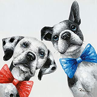 Floopy's Wall décor - Dog Portrait Painting Printing On Canvas Bow Ties Colorful and Fun Hand Embellished Pet Modern Art for Living Room Bedroom Office Children Wall Decoration 28