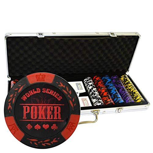 Poker World Series - Valigetta da 500 gettoni in Clay Composite da 14 g, con accessori