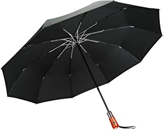 Ganamoda Compact Travel Umbrella-Windproof&Water Repellent with 10 Reinforced Fiberglass Ribs 210T Fabric,Wooden Handle with Automatic Open&Close Button