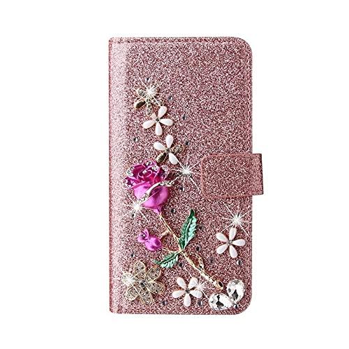 Ragazze donne moda cuoio vibrazione flash diamante lusso caso per Samsung Galaxy A32 A52 A72 A12 A02S A750 A5 A6 A8 2018 J3 J5 J7-Rose-per SM A02S Us