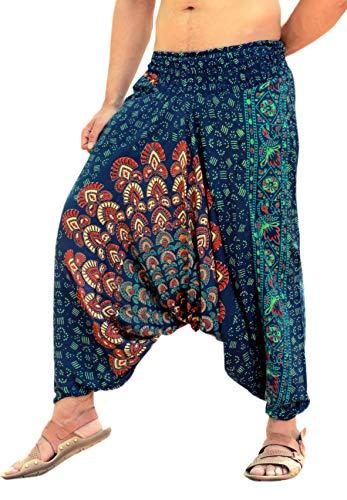 Sarjana Handicrafts Mens Womens Rayon Mandala Pockets Harem Pants Yoga Drop Crotch Trouser (Green)