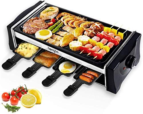 HengBO Raclette Grill Elektrogrills mit Reversible Grillpfanne, Teppanyaki Grill für 8 Personen, Stufenlos Regulierbare Temperatur, Antihaftbeschichtung, 8 Mini Raclette Pfännchen zum Kochen von Käse