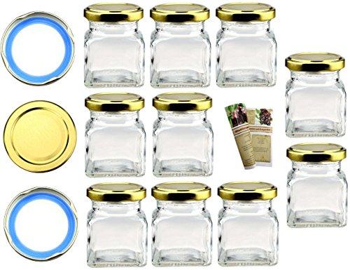 """Flaschendiscount 40 leere eckige Einmachgläser \""""Quadrat\"""" 120 ml incl. Drehverschluss Gold BLUESEAL, Vorratsgläser, Marmeladengläser, Einkochgläser, Gewürzgläser, Einweckgläselr"""