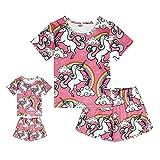 ModaIOO Matching Dolls & Girls Pajamas Unicorn Short Sleeve Sleepwear Set(8032,Uni2.Pink,130)
