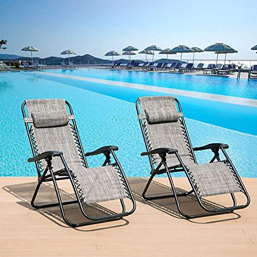 DreamMespace, set di 2 sedie pieghevoli in Textoline Zero Gravity per giardino, esterni, patio, sedie pieghevoli (grigio)