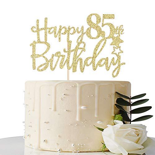 Tortenaufsatz zum 85. Geburtstag, goldener Glitzer, Hello 85, Cheers to 85 Jahre, 85, tolle Partydekoration