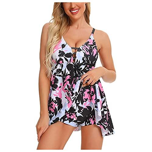 DoeRal Damenmode Tiefer V-Ausschnitt Halter Boxer Bikini Print Schwimmrock Split Bademode Zweiteiliger Badeanzug Beachwear Set