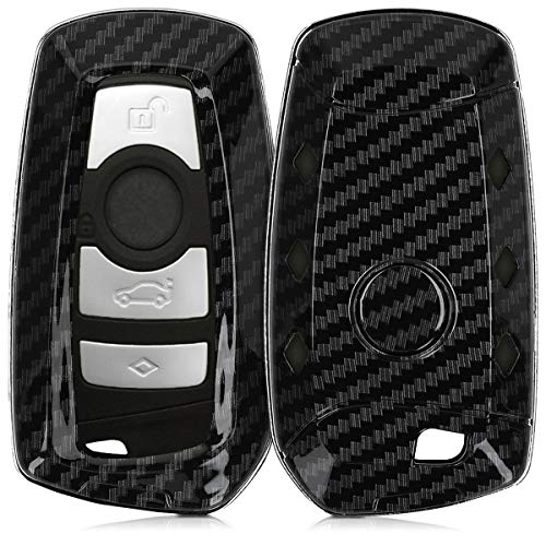 kwmobile Autoschlüssel Hülle kompatibel mit BMW 3-Tasten Funk Autoschlüssel (nur Keyless Go) - Hardcover Schutzhülle Schlüsselhülle Cover Carbon Schwarz