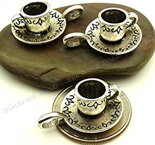 NP Supplies 5 Antique Silver 3D Tea Cup Charm Jewelry Finding (NS685)