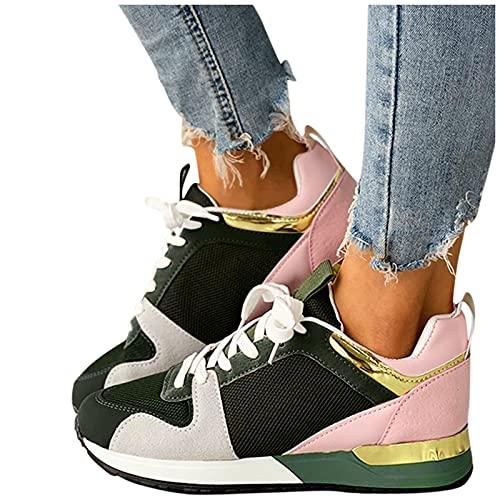 Briskorry Damen Sneakers Mesh SchnüRsneaker Plateau Shuhe Mode Neue Damenschuhe Bequeme Atmungsaktiv Laufschuhe Leichtgewichts Sportschuhe Freizeitschuhe Flache Schuhe Outdoorschuhe Fitnessschuhe