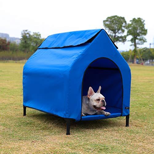 AmazonBasics - Caseta para mascotas, elevada, portátil, pequeña, azul