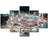 絵画キャンバスモジュラーホームデコレーションハイQuanlity 5パネルイスラム教徒フレーム現代ウォールアートイスラム教の写真のためにリビングルームキッズルーム (Color : No Frame, Size : 20x35 20x45 20x55cm)