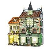 CALEN Juegos de construcción de casas modulares con luz, 3468 piezas de edificios modulares Wizarding World Series Magic Bookstore MOC Building Kits, compatible con Lego