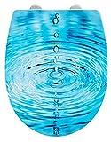 Asiento de Inodoro WENKO con Cierre Suave Droplets, Tapa de Inodoro, Asiento de Inodoro, Clip para una fijación higiénica, fácil Montaje, Cierre Suave, Duroplast, Ovalado, Motivo