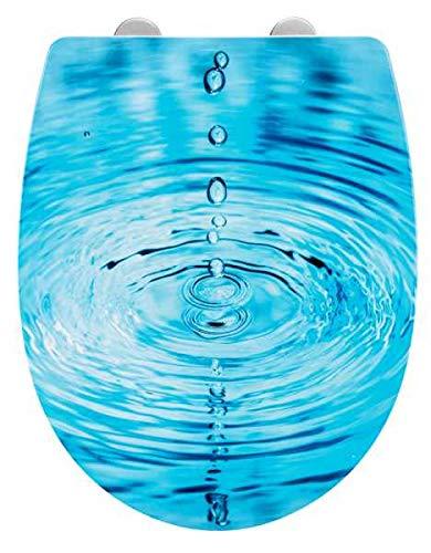 WENKO WC- Sitz Droplets Toilettendeckel Toillettensitz mit Easy Close Absenkautomatik und einfacher Fix Clip Hygienebefestigung Motiv 38 x 45cm