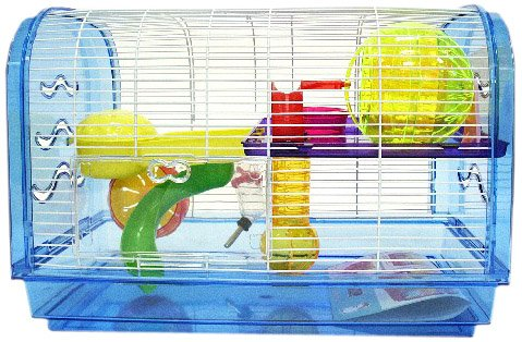 YML Clear Plastic Dwarf Hamster Mice Cage Dome with Color Accessories, Blue