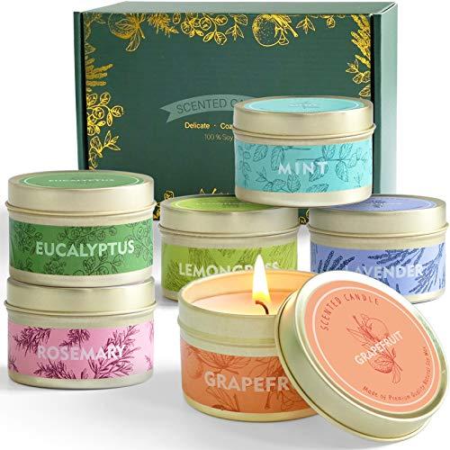 SCENTORINI 6 Velas Perfumadas con Aceite Essencial Aromaterapia 100% Cera de Soja Set de Regalo, Cítricas, Lavanda, Limonero, Rosmarino Menta y Eucalipto, Duración Total 102h