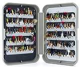Lakeland - Caja de pesca con mosca G + Moscas de trucha mixtas – Mezcla de dos tamaños 12 y 14 – Cantidad 100