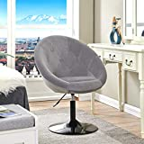 Duhome Velvet Accent Chairs, Lounge Chair Adjustable Modern Round Tufted Back Swivel Make-up Vanity Chair Light Grey