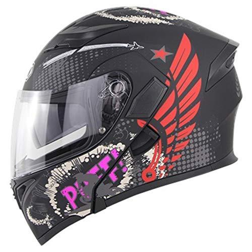 ZLYJ Casco Abatible para Motocicleta Cascos Delanteros Abatibles Modulares con Doble Visera Casco Integral De Carreras Casco De Protección Aprobado por ECE para Hombres Y Mujeres G,S(53-54cm)