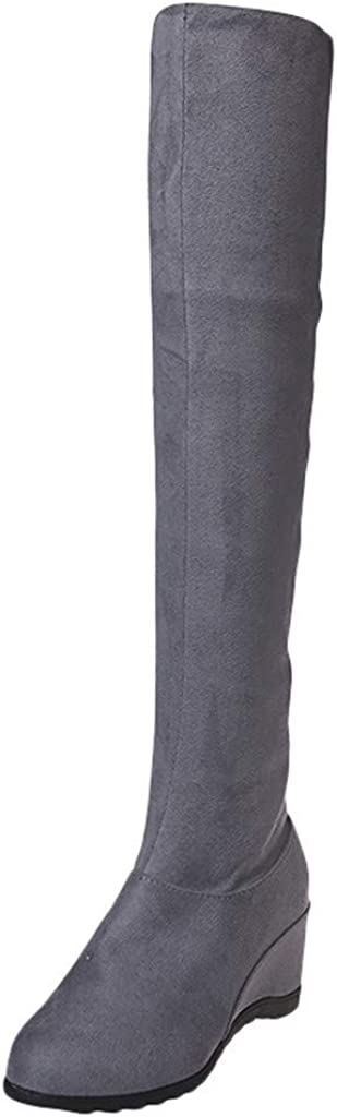 Stretchy Thigh High Boot - Women's Faux Suede Over The Knee Pull On Low Block Heel Thigh High Boots