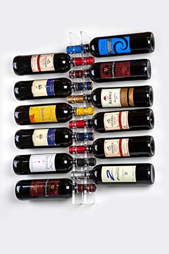 Porta botellas de vino de pared 12 botellas en metacrilato - Restaurante, bares, vinoteca, cocina, etc. - Decoración con botellas montaje en pared diseño moderno