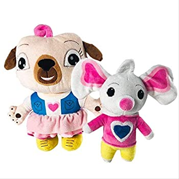 Esunndda Chip and Potato Plush Toys Doll Cartoon Pug Dog and Mouse Plush Doll Stuffed Animal Toy for Kids Birthday Gifts 20cm/2pcs Home Decoration