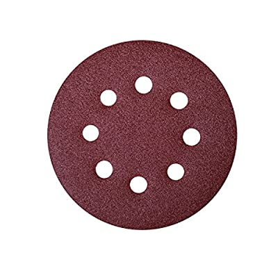 "POWERTEC 45100 A/O Hook & Loop 8 Hole Disc, 6"", Assortment Grits 40, 80, 120, 220, 320, Red"