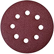 POWERTEC 45032 A/O Hook and Loop 8 Hole Disc, 5-Inch, 320 Grit, 25 PK