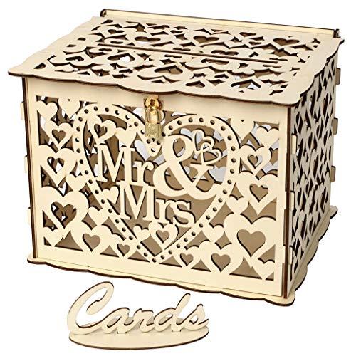 TeasyDay Boîte à Cartes de Mariage en Bois avec Serrure, boîtes à Cadeaux en Bois à Assembler, boîte de Rangement pour Cartes en contreplaqué de 25 x 20 x 18 cm (A)