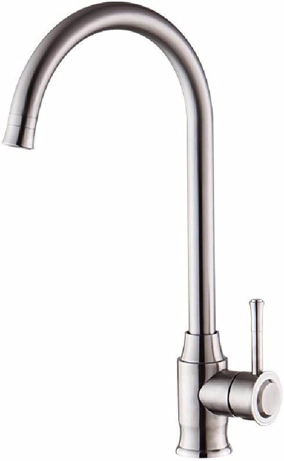 Commercial Single Lever Pull Down Kitchen Sink Faucet Brass Constructed Polished 304 Stainless Steel Kitchen Faucet Double Water Hot and Cold Sink Faucet Double Temperature Sink