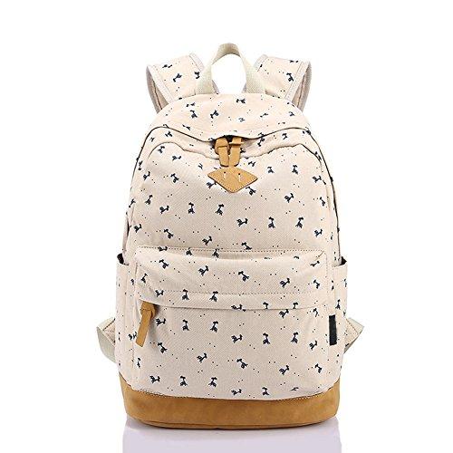 Qearly GarçOns Filles école Sac à dos Loisir Toile étudiants sac à dos sacs de randonnée voyage sac à dos-Beige