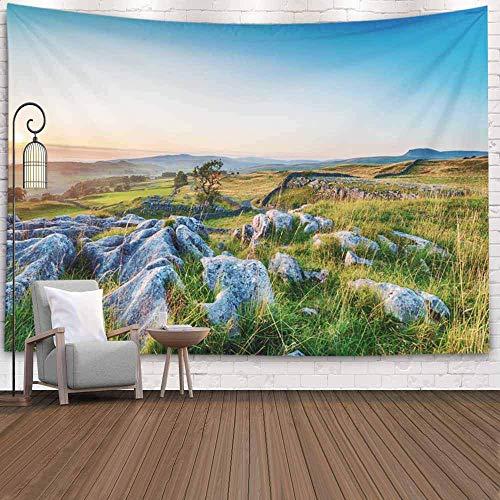 Bunkert Wandteppiche Dekoration Wohnzimmer Schlafzimmer für 60X60 Zoll Sonnenuntergang mit klarem blauem Himmel über Kalkstein Die Steine in der Nähe in Park Pflaster